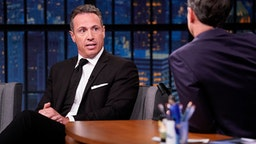 LATE NIGHT WITH SETH MEYERS -- Episode 867 -- Pictured: (l-r) CNN's Chris Cuomo during an interview with host Seth Meyers on August 1, 2019 --