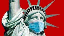 Statue of Liberty masked.