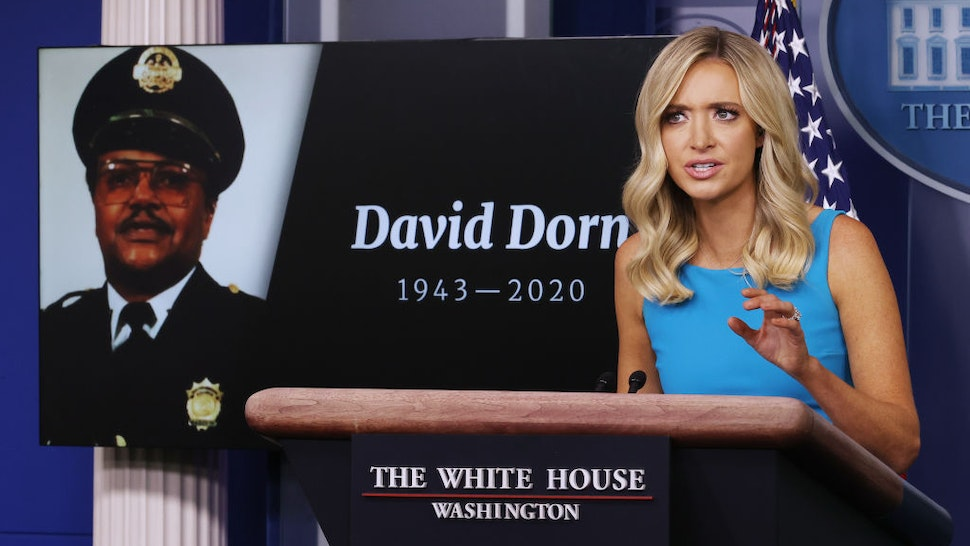 White House Press Secretary Kayleigh McEnany notes the deaths of several police officers during a news conference, including retired St. Louis Police Captain David Dorn, in the Brady Press Briefing Room at the White House June 03, 2020 in Washington, DC. Earlier in the day, Defense Secretary Mark Esper broke with President Donald Trump and said that he does not support using active duty military troops on the streets of American cities to quell protests over the death of George Floyd, who was killed while in the custody of Minneapolis police on Memorial Day. (Photo by Chip Somodevilla/Getty Images)