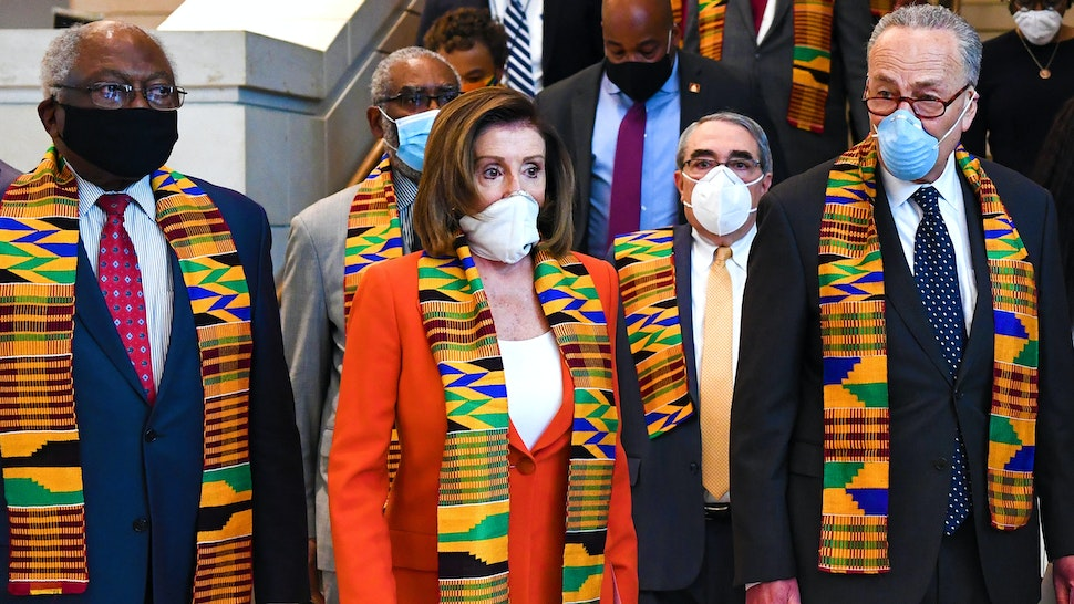 UNITED STATES - JUNE 8: Speaker of the House Nancy Pelosi, D-Calif., and other members of Congress gather at the Emancipation Hall, to observe a moment of silence to honor George Floyd, and victims of racial injustice on Monday, June 8, 2020.