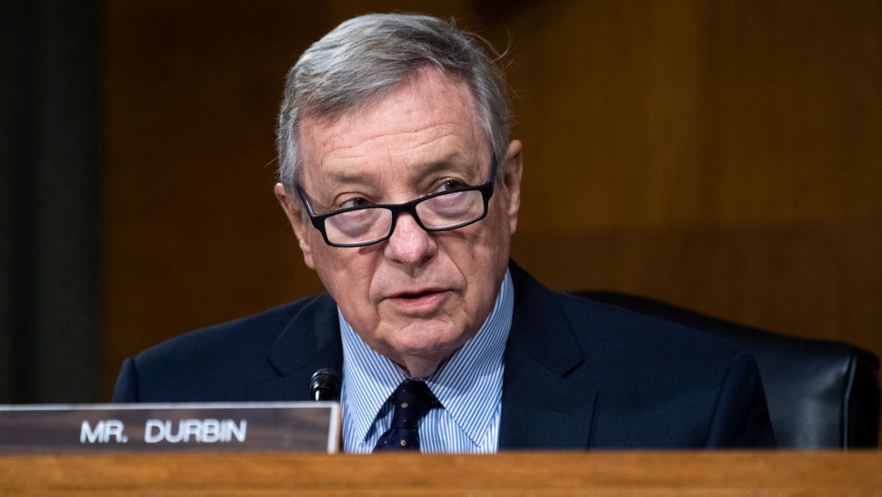 Sen. Richard Durbin (D-IL) makes an opening statement during the Senate Judiciary Committee hearing examining risks of Covid-19 in jails at the Dirksen Building of the U.S. Capitol June 2, 2020 in Washington, D.C. (Photo By Tom Williams-Pool/Getty Images)