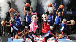 Mickey Mouse and Minnie with dancers during the opening day for NBA Experience, a basketball-driven interactive attraction at Disney Springs in Orlando, Fla., on August 12, 2019. (Ricardo Ramirez Buxeda/Orlando Sentinel/TNS)