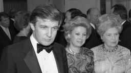 """Businessman Donald Trump, his sister Maryanne Trump Barry and his mother Mary Anne MacLeod Trump attend the 90th birrthday celebration of Dr. Norman Vincent Peale author of the book """"The Power of Positive Thinking"""" at the Waldorf Astoria Hotel in May 1988 in New York, New York. (Photo by Tom Gates/Getty Images)"""