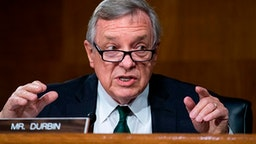 Sen. Richard Durbin, D-Ill., asks a question during the Senate Judiciary Committee hearing titled Police Use of Force and Community Relations, in Dirksen Senate Office Building in Washington, DC, on June 16, 2020.