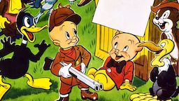 Two Gophers From Texas, poster, poster art for animated short, Sniffles the mouse (back left), Daffy Duck (front left), Elmer Fudd (front, with gun), Porky Pig (front, laying down), Bugs Bunny (top right), 1948.