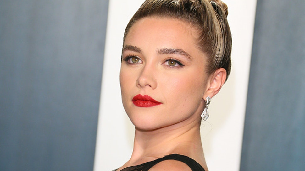 British actress Florence Pugh attends the 2020 Vanity Fair Oscar Party following the 92nd Oscars at The Wallis Annenberg Center for the Performing Arts in Beverly Hills on February 9, 2020.