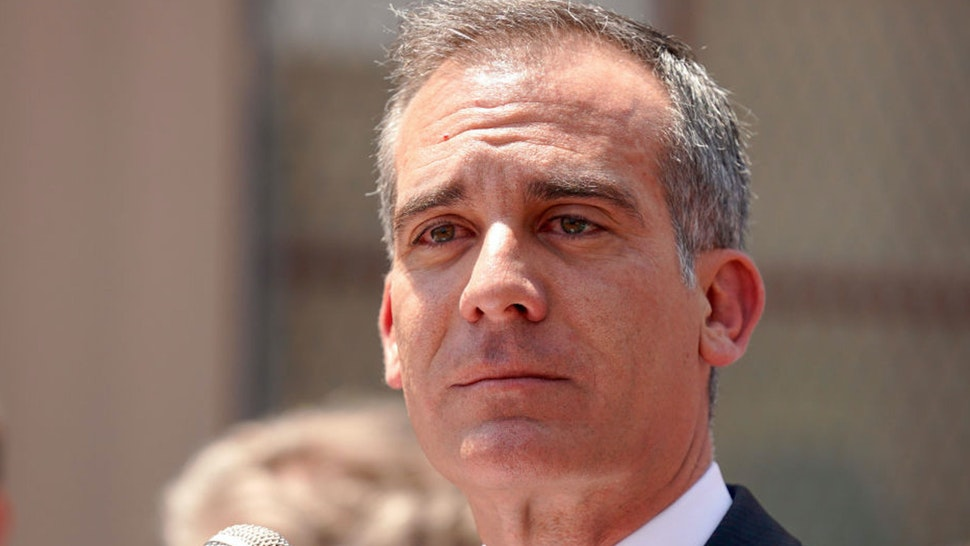 LOS ANGELES, CA - JUNE 05: Los Angeles Mayor Eric Garcetti eyes water as he gets emotional while speaking during a press conference at Western Avenue Elementary School in Los Angeles on Wednesday, June 5, 2019. Garcetti, school board members and labor leaders gathered to discuss the loss of Measure EE in the polls and how they will fight to find money for the school district.