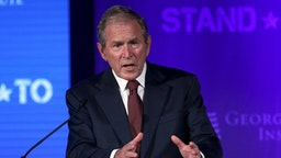 WASHINGTON, DC - JUNE 23: Former U.S. President George W. Bush speaks during a conference at the U.S. Chamber of Commerce June 23, 2017 in Washington, DC. The George W. Bush Institute hosted a conference to address veteran issues
