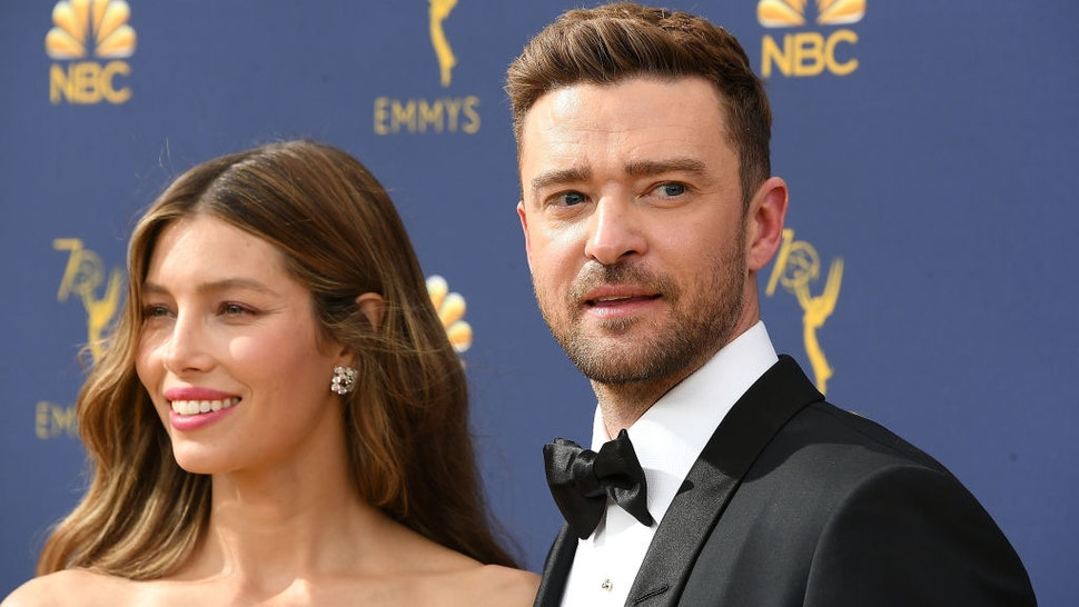 Jessica Biel, Justin Timberlake arrives at the 70th Emmy Awards on September 17, 2018 in Los Angeles, California