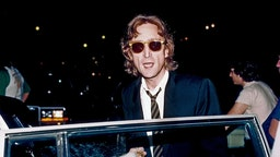 Former Beatle John Lennon arrives at the Times Square recording studio 'The Hit Factory' before a recording session of his final album 'Double Fanasy' in August 1980 in New York City, New York.