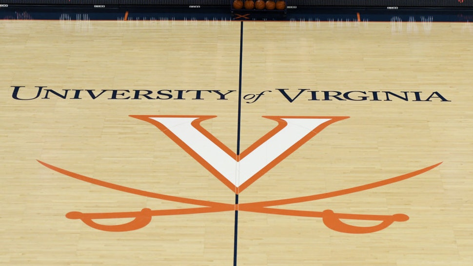 The Virginia Cavaliers logo on the floor before a college basketball game against the George Washington Colonials at the John Paul Jones Arena on November 11, 2018 in Charlottesville, Virginia.
