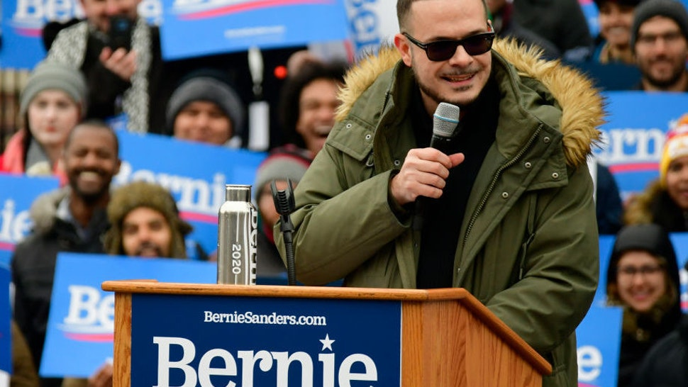 Activist and journalist Shaun King takes the stage to stump for Sen. Bernie Sanders (I-VT) during the 2020 campaign kick-off at Brooklyn College in Brooklyn, NY on March 2, 2019.