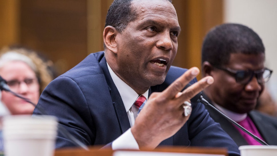 Former NFL player Burgess Owens testifies during a hearing on slavery reparations held by the House Judiciary Subcommittee on the Constitution, Civil Rights and Civil Liberties on June 19, 2019 in Washington, DC.