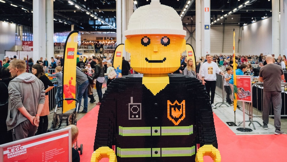 A human sized Lego figure is on display at the Lego building event in Helsinki, on September 28, 2019. (Photo by Alessandro RAMPAZZO / AFP) (Photo credit should read ALESSANDRO RAMPAZZO/AFP via Getty Images)