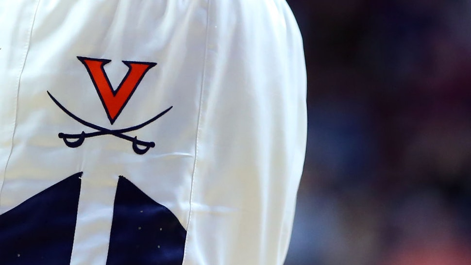 General view of the Virginia Cavaliers logo on a pair of game shorts during the college basketball against UMass Minutemen on November 23, 2019, at Mohegan Sun Arena in Uncasville, CT.