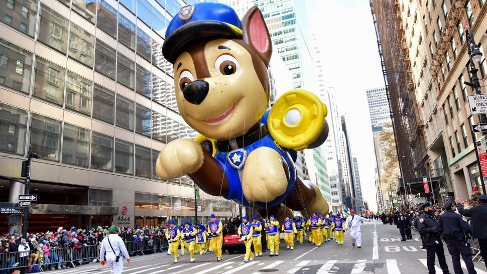 A Chase Paw Patrol balloon seen at the 93rd Annual Macy's Thanksgiving Day Parade on November 28, 2019 in New York City.