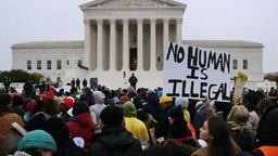 WASHINGTON, DC - NOVEMBER 12: Hundreds of people gather outside the U.S. Supreme Court to rally in support of the Deferred Action on Childhood Arrivals program as the court hears arguments about DACA November 12, 2019 in Washington, DC. The court heard arguments in the case that tests the legality of the DACA program, a federal immigration policy that has given protection from deportation to 700,000 people brought to the U.S. as children. The Trump Administration announced the end of the program in 2017. (Photo by Chip Somodevilla/Getty Images)