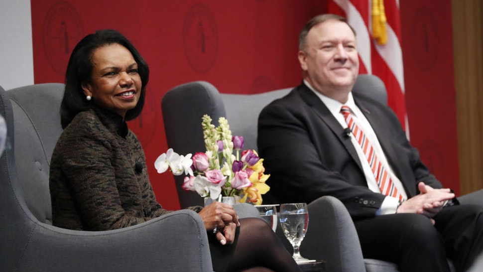 Condoleezza Rice, former U.S. secretary of state, and Mike Pompeo, U.S. secretary of state, right, listen during an event hosted by the Hoover Institution at Stanford University in Stanford, California, U.S., on Monday, Jan. 13, 2020.