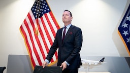 Richard Grenell, Ambassador of the United States of America to Germany, attends a press conference at the US Embassy in Berlin.