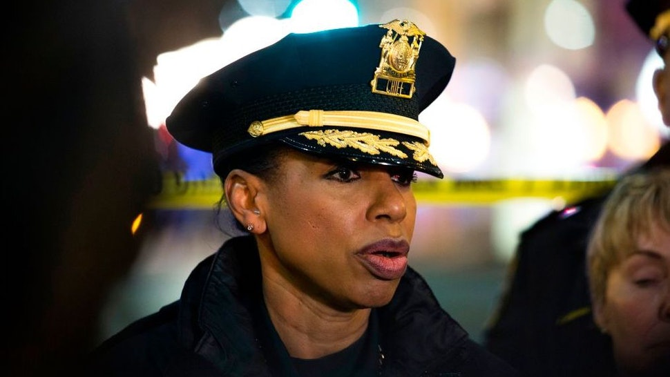 Seattle Police Chief Carmen Best speaks to reporters at the scene of a shooting that left one person dead and seven injured, including a child, in downtown Seattle, Washington on January 22, 2020.