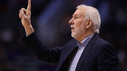 Head coach Gregg Popovich of the San Antonio Spurs calls a play during the first half of the NBA game against the Phoenix Suns at Talking Stick Resort Arena on January 20, 2020 in Phoenix, Arizona.