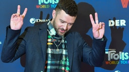 """Justin Timberlake, actor and musician, is at the photo shoot for the movie """"Trolls World Tour"""" at the Hotel Waldorf Astoria."""