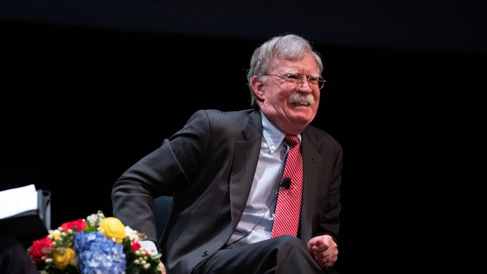 Former National Security adviser John Bolton speaks on stage during a public discussion at Duke University in Durham, North Carolina on February 17, 2020. - Bolton was invited to the school to discuss national security weeks after he was thought of as a key witness in the impeachment trial of President Donald Trump. (Photo by Logan Cyrus / AFP) (Photo by LOGAN CYRUS/AFP via Getty Images)