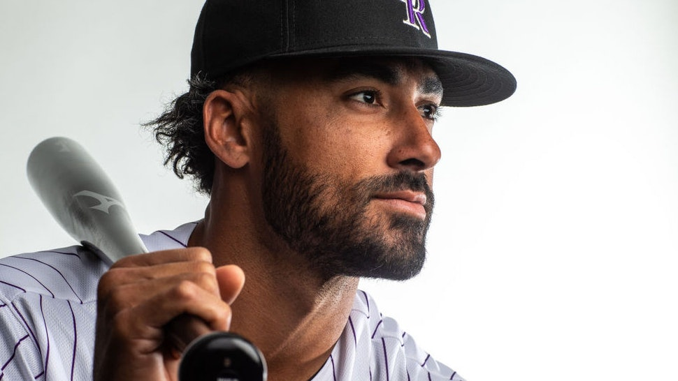 Ian Desmond #20 of the Colorado Rockies poses for a portrait during Photo Day at the Colorado Rockies Spring Training Facility at Salt River Fields at Talking Stick on February 19, 2020 in Scottsdale, Arizona.