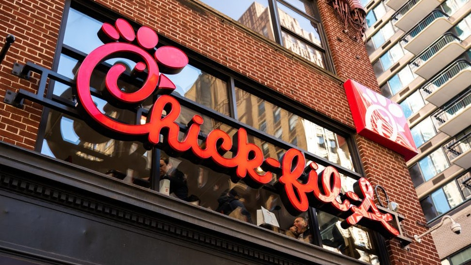 NEW YORK CITY, UNITED STATES - 2020/02/20: American fast food restaurant chain, Chick-fil-A logo seen in Midtown Manhattan. (Photo Illustration by Alex Tai/SOPA Images/LightRocket via Getty Images)