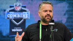 Head coach Matt Rhule of the Carolina Panthers interviews during the first day of the NFL Scouting Combine at Lucas Oil Stadium on February 25, 2020 in Indianapolis, Indiana.