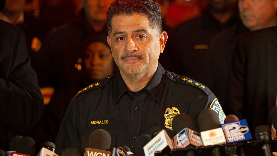 Milwaukee Police Chief Alfonso Morales speaks to the media following a shooting at the Molson Coors Brewing Co. campus on February 26, 2020 in Milwaukee, Wisconsin.