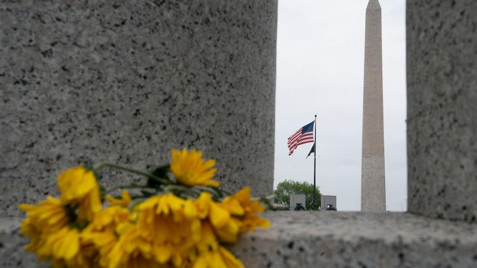 Photo taken on April 28, 2020 shows the Washington Monument in Washington D.C., the United States.