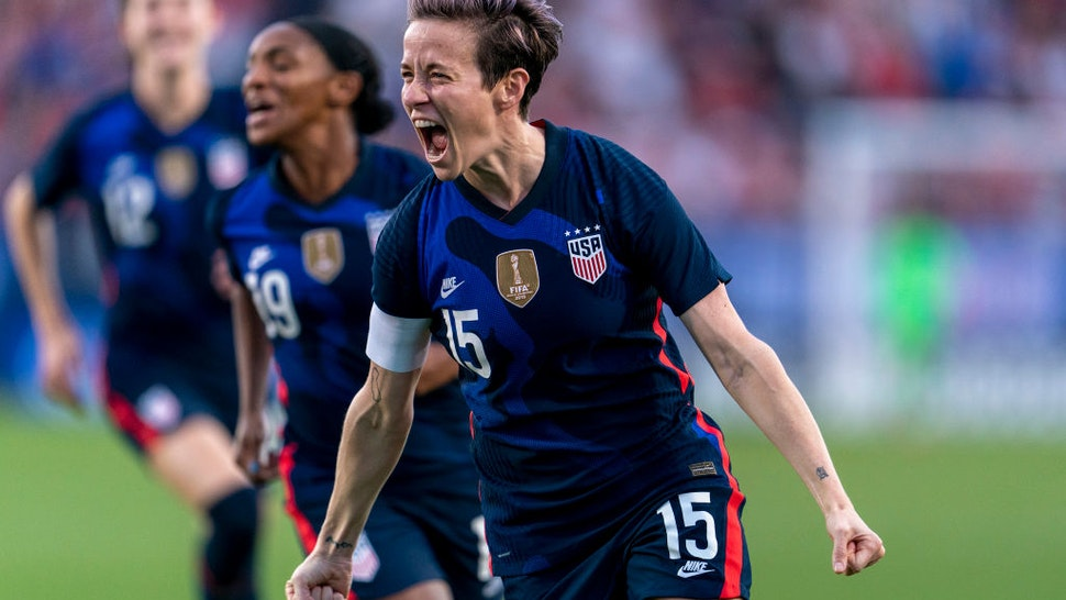 Megan Rapinoe #15 of the United States celebrates during a game between Japan and USWNT at Toyota Stadium on March 11, 2020 in Frisco, Texas.