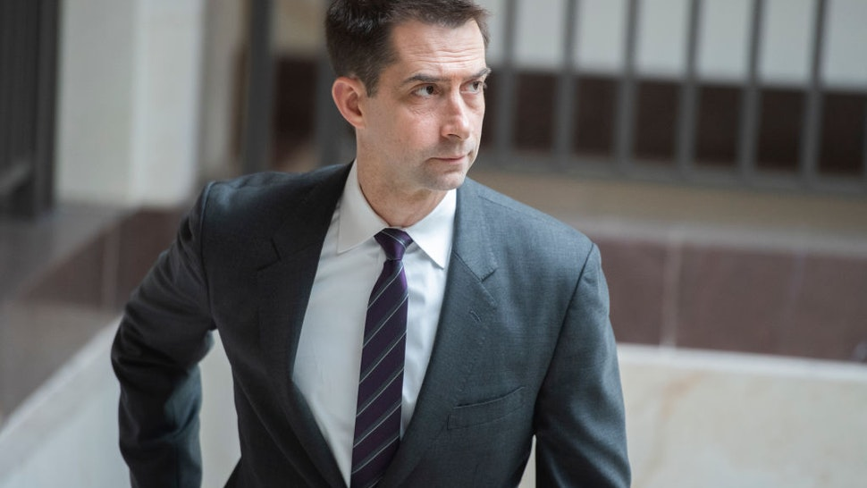 Sen. Tom Cotton, R-Ark., is seen in the Capitol Visitor Center on Tuesday, May 19, 2020.