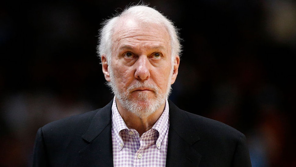Head coach Gregg Popovich of the San Antonio Spurs looks on against the Miami Heat during the second half at American Airlines Arena on January 15, 2020 in Miami, Florida.