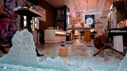 A looted and destroyed shop is seen after a night of protest over the death of African-American man George Floyd in Minneapolis on June 1, 2020 in Lower Manhattan in New York City. -