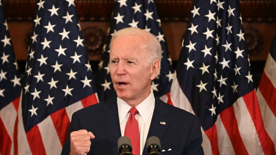 Democratic presidential candidate, and former Vice President Joe Biden speaks about the unrest across the country from Philadelphia City Hall on June 2, 2020 in Philadelphia, Pennsylvania, contrasting his leadership style with that of US President Donald Trump, and calling George Floyds death a wake-up call for our nation. (Photo by JIM WATSON / AFP) (Photo by JIM WATSON/AFP via Getty Images)