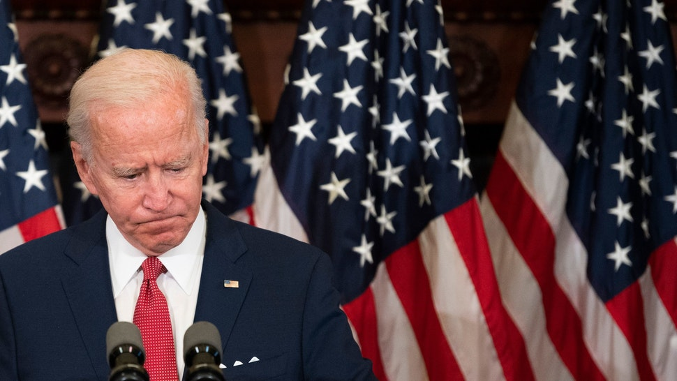 """Former vice president and Democratic presidential candidate Joe Biden speaks about the unrest across the country from Philadelphia City Hall on June 2, 2020, in Philadelphia, Pennsylvania, contrasting his leadership style with that of US President Donald Trump, and calling George Floyd's death """"a wake-up call for our nation."""" (Photo by JIM WATSON / AFP) (Photo by JIM WATSON/AFP via Getty Images)"""