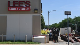 Construction is being done outside Lee's Pawn and Jewelry where David Dorn, a 77-year-old retired police captain who was murdered during overnight rioting, on June 2, 2020 in St Louis, Missouri.