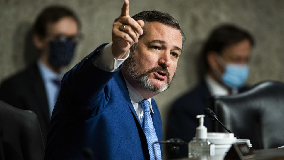 Senator Ted Cruz, a Republican from Texas, speaks during a Senate Judiciary Committee hearing with Rod Rosenstein, former deputy attorney general, in Washington, D.C., U.S., on Wednesday, June 3, 2020.