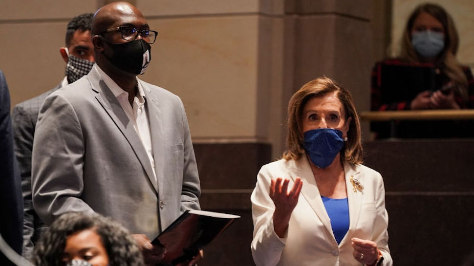 Philonise Floyd, brother of George Floyd; and U.S. House Speaker Nancy Pelosi arrive before a House Judiciary Committee hearing on police brutality and racial profiling on June 10, 2020 in Washington, DC.