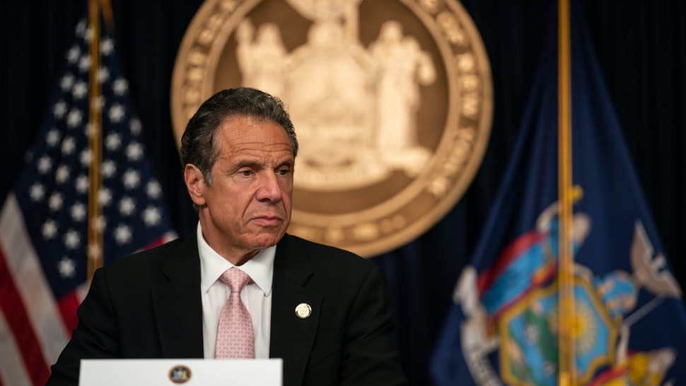 """NEW YORK, NY - JUNE 12: New York Gov. Andrew Cuomo speaks during the daily media briefing at the Office of the Governor of the State of New York on June 12, 2020 in New York City. Gov. Andrew Cuomo signed the """"Say Their Name"""" reform legislation, an agenda that calls for better policing standards in New York State in the wake of recent protests and in response to George Floyd's death. (Photo by Jeenah Moon/Getty Images)"""