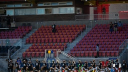Members of Portland Thorns FC knee during the national anthem before a game against the North Carolina Courage during the first round of the NWSL Challenge Cup at Zions Bank Stadium on June 27, 2020 in Herriman, Utah.