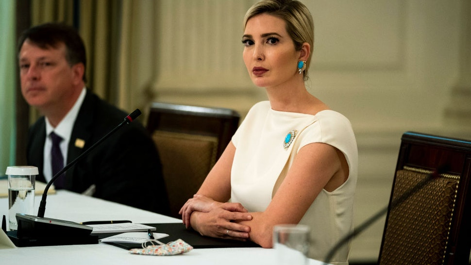 Ivanka Trump, first daughter and adviser to President Donald Trump listens during a roundtable in the State Dining Room of the White House May 18, 2020 in Washington, DC.
