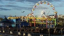 The deserted Santa Monica Pier is seen on May 18, 2020 in Santa Monica, California.