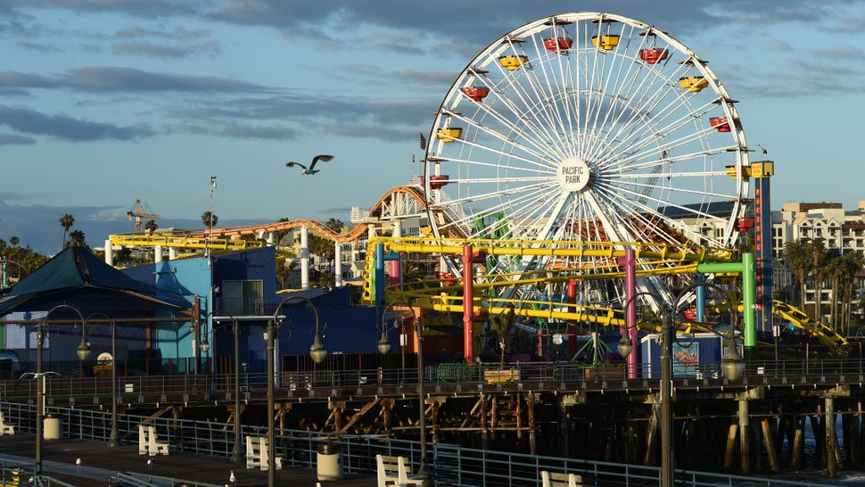 The deserted Santa Monica Pier is seen on May 18, 2020 in Santa Monica, California.