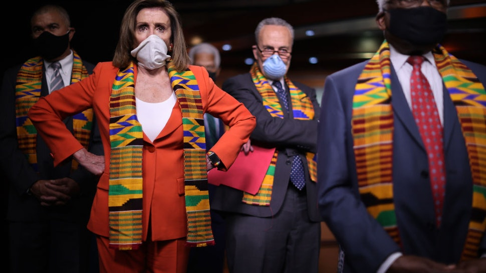 Speaker of the House Nancy Pelosi (D-CA) joins fellow Democrats from the House and Senate, including (L-R) Rep. Lacy Clay (D-MO), Senate Minority Leader Charles Schumer (D-NY) and House Majority Whip James Clyburn (D-SC), to announce new legislation to end excessive use of force by police across the country and make it easier to identify, track, and prosecute police misconduct at the U.S. Capitol June 08, 2020 in Washington, DC.