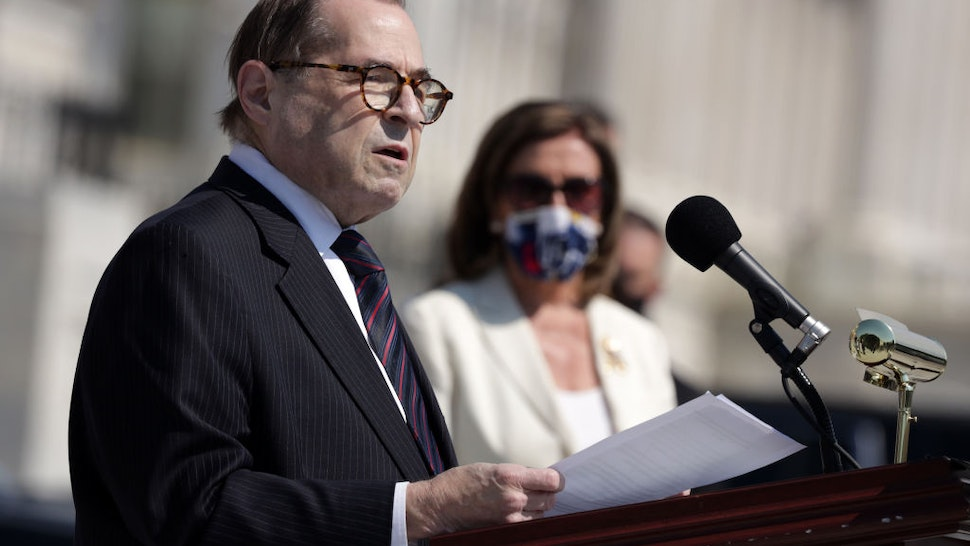 U.S. Rep. Jerry Nadler (D-NY) speaks as Speaker of the House Rep. Nancy Pelosi (D-CA) listens during an event on police reform June 25, 2020 at the east front of the U.S. Capitol in Washington, DC.