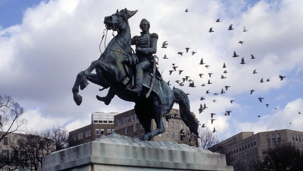 WASHINGTON - DECEMBER 23: General Andrew Jackson Statue in Lafayette Square on December 23, 1996 in Washington, DC. (Photo by Santi Visalli/Getty Images)
