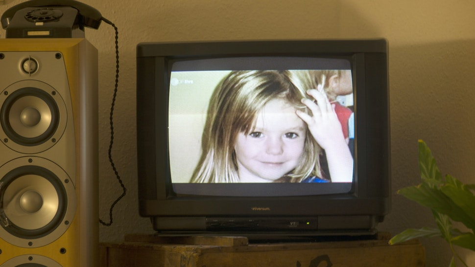 """A photo of British girl Madeleine McCann aka Maddie is displayed on a TV screen at an appartmen in Berlin, on October 16, 2013 during the broadcast of German ZDF's """"Aktenzeichen XY"""" programme. The German broadcaster received more than 500 phone calls and emails after airing the programme on the 2007 disappearance of British toddler Madeleine McCann in Portugal, the station said on October 16, 2013. The appeal, based on two years of work raking over the case by Scotland Yard's officers, was first broadcast in Great Britain on the BBC's """"Crimewatch"""" programme. AFP PHOTO / JOHANNES EISELE (Photo credit should read JOHANNES EISELE/AFP via Getty Images)"""